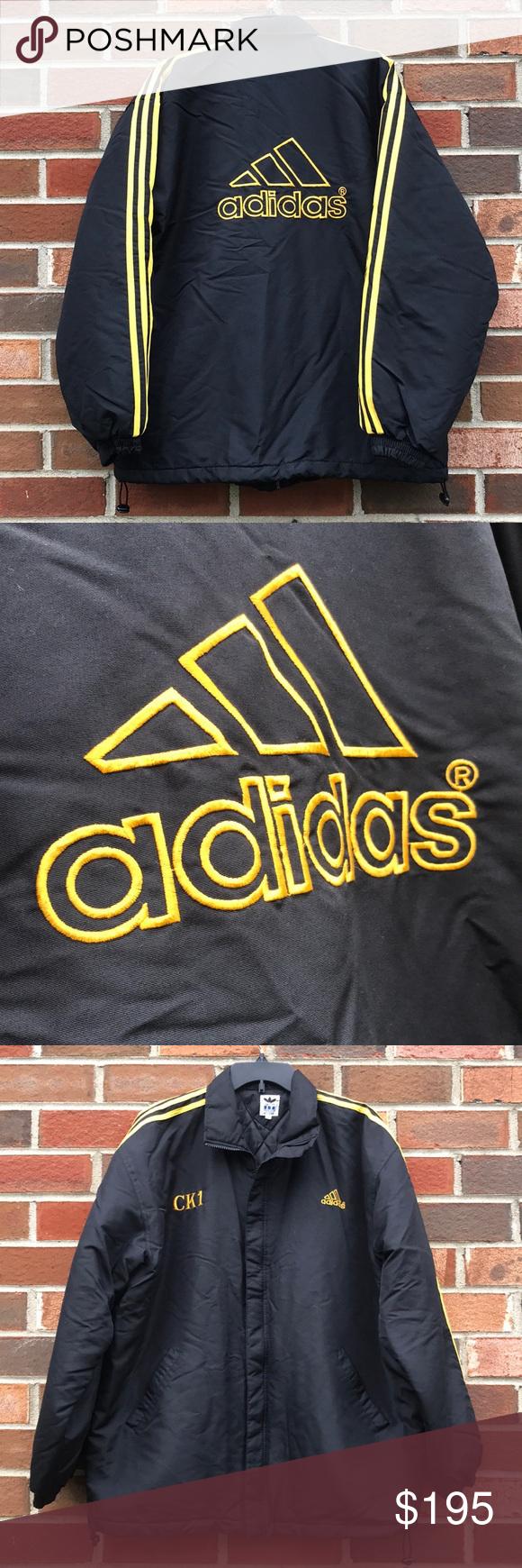 Sequía Colectivo expedición  Vintage adidas jacket 98-6 JASPOO black & yellow | Vintage adidas, Adidas  jacket, Jackets