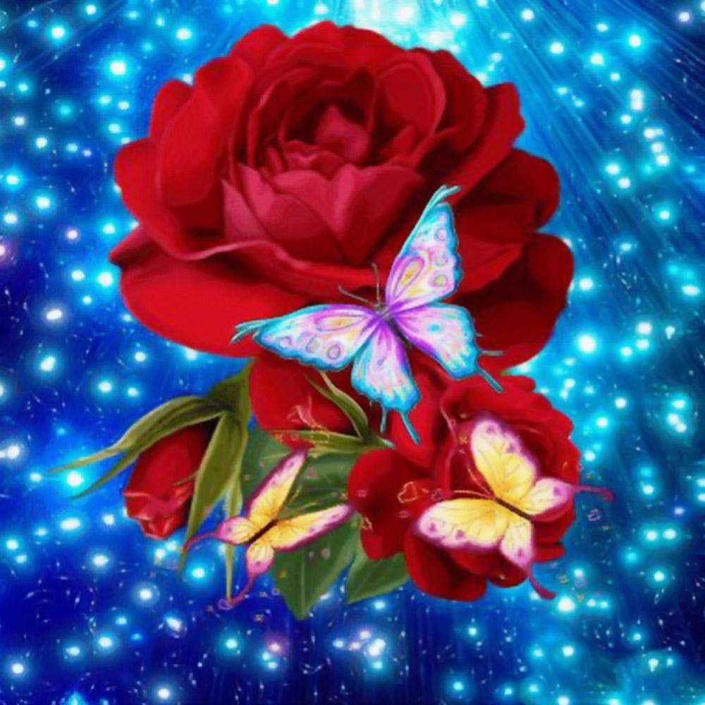 5D DIY Red Rose Diamond Painting Embroidery Craft Cross Stitch Home Decor #DIY #crafts #5ddiamondpainting #homedecor