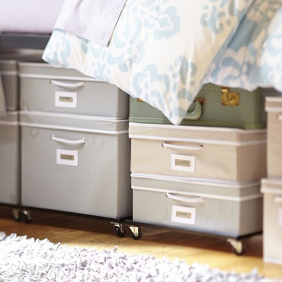 Rolling underbed storage frame college essentials - Dorm underbed storage ideas ...