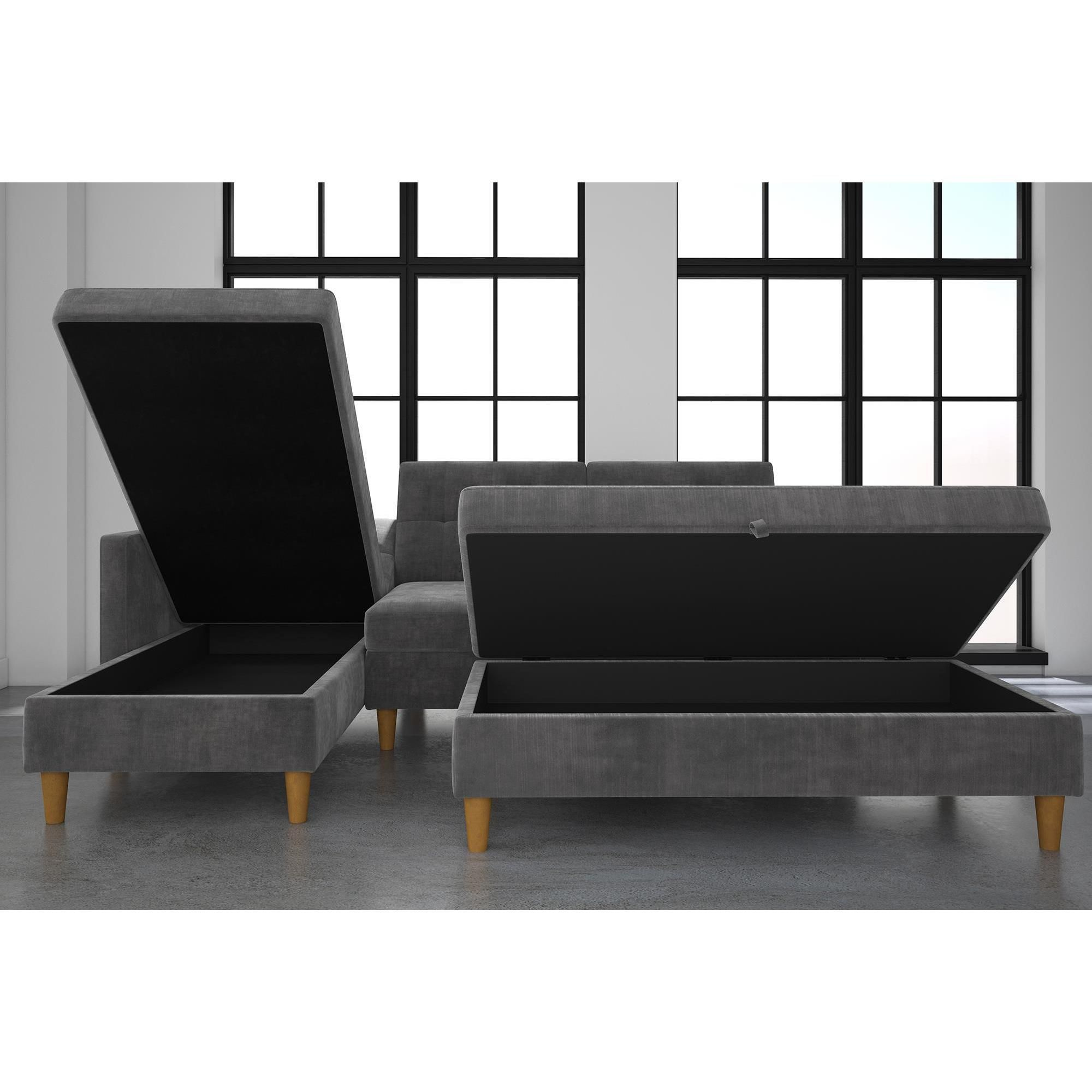 Incredible Dhp Hartford Chenille Storage Sectional Futon And Storage Lamtechconsult Wood Chair Design Ideas Lamtechconsultcom