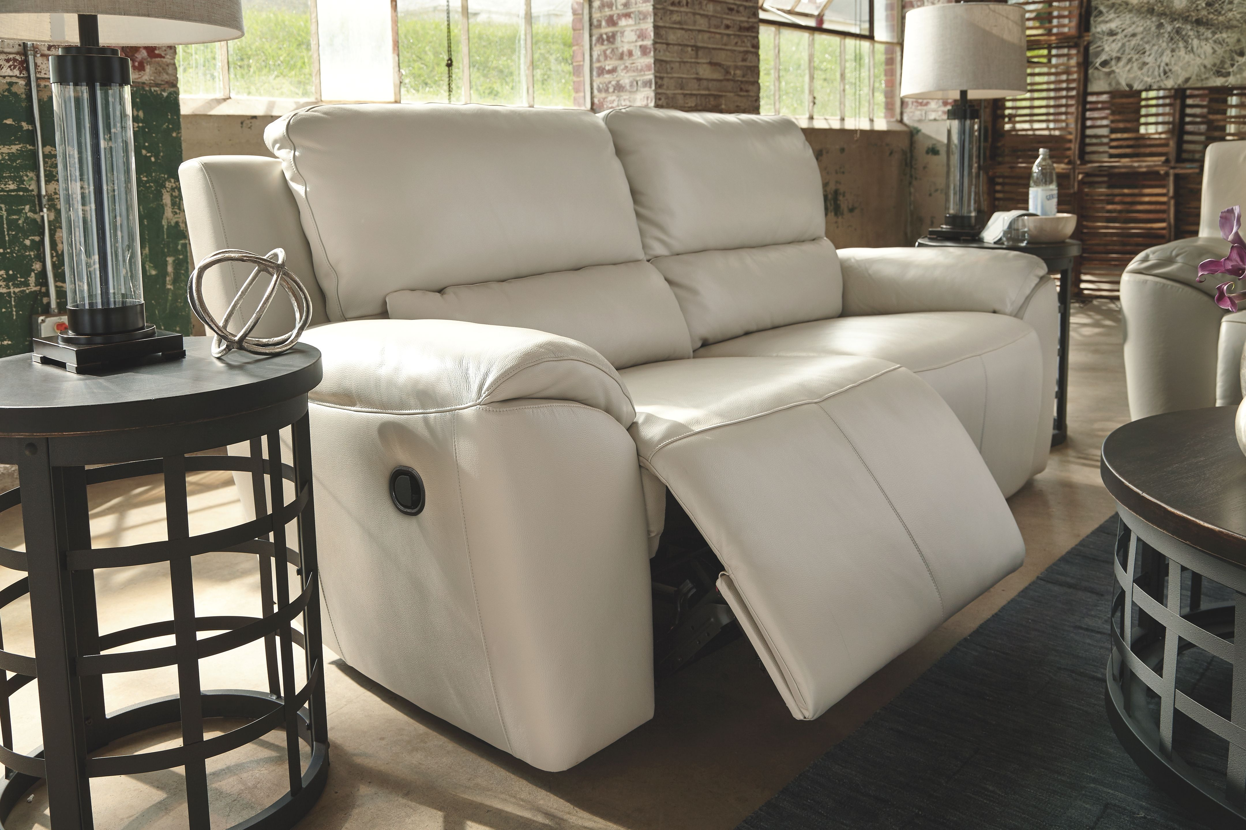 Valeton Reclining Sofa Cream Leather Products Recliner