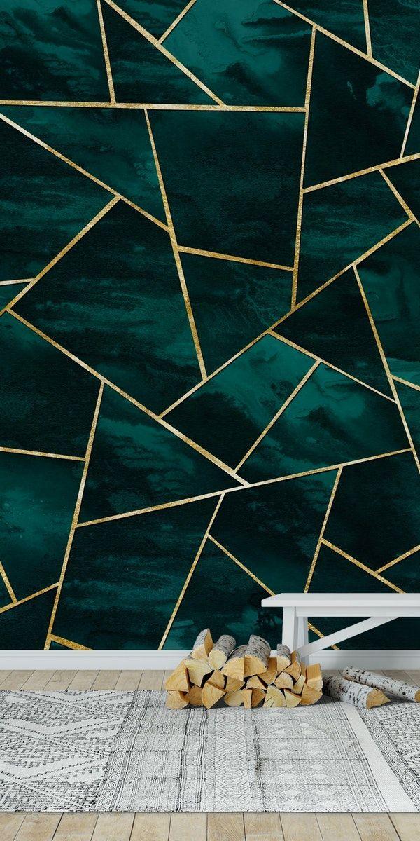 Dark Teal Ink Gold Geometric 1 Wall mural in 2020