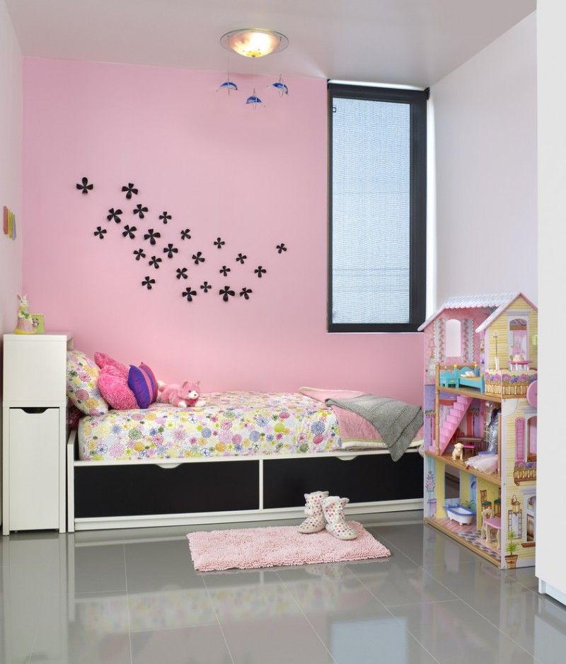 Pink Painted Walls Idea With Black Flower Stickers Black White Bed Frame Grey Ceramic Floors Diy Wall Decor For Bedroom Modern Kids Bedroom Wall Decor Bedroom