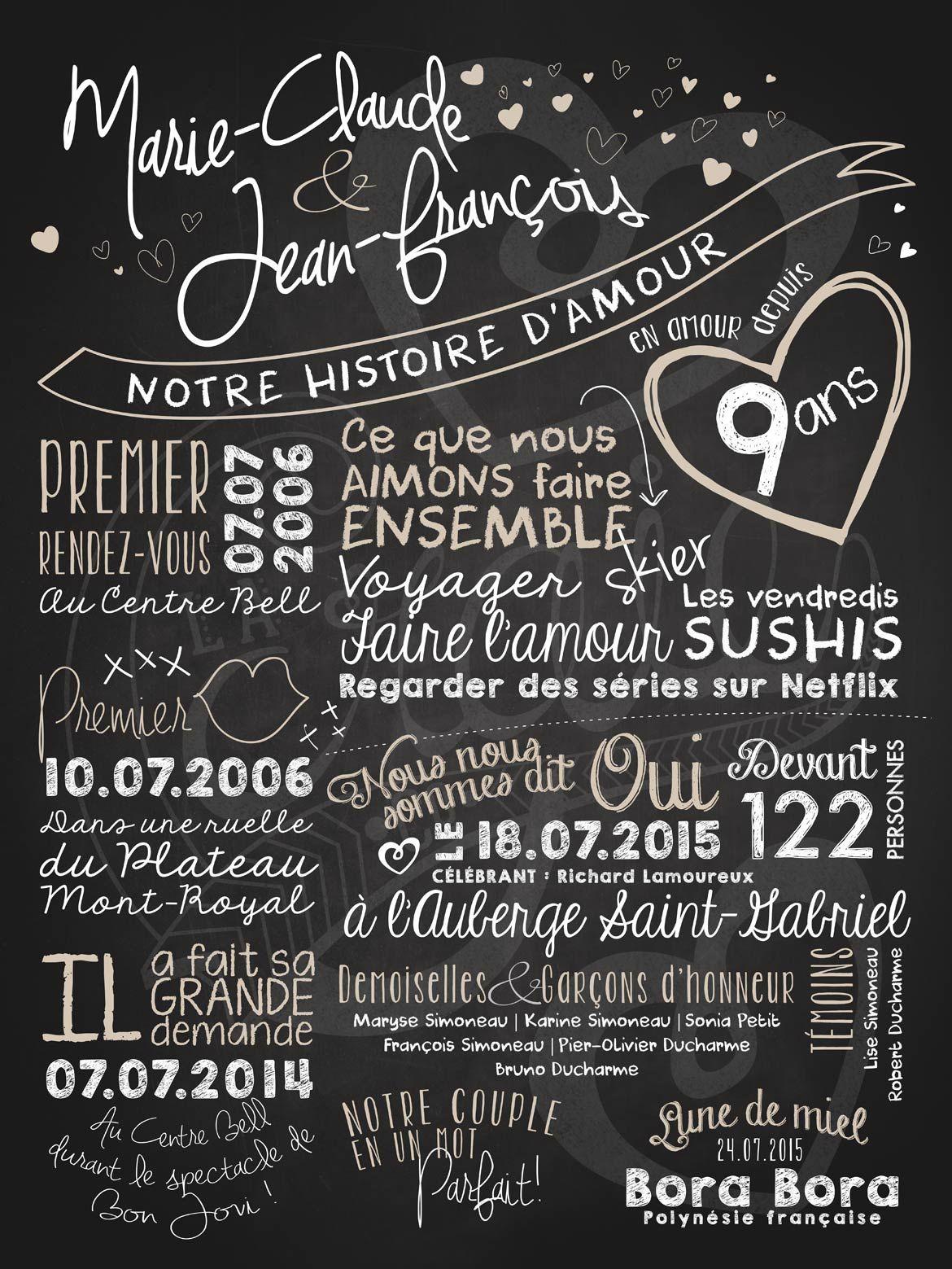 Affiche Personnalisée Mariage Notre Histoire Damour 35