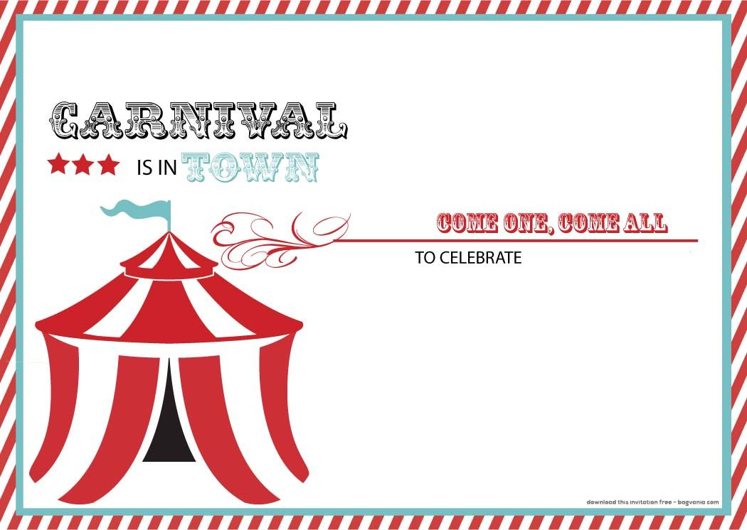 Download Now FREE Carnival Birthday Invitations