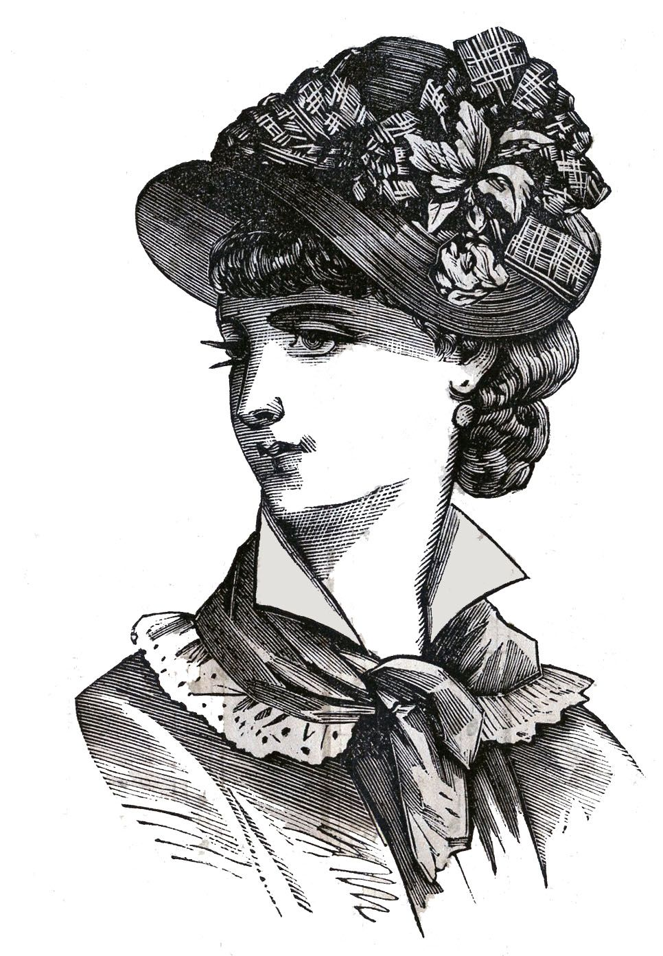 black and white victorian clip art victorian clip art 3 hat wearing heads ladies the graphics fairy [ 966 x 1392 Pixel ]
