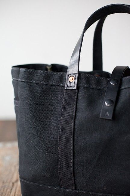 Et Tote In Canvas Tool Cabas Garden trousses Waxed Black pochons Oqwna1z