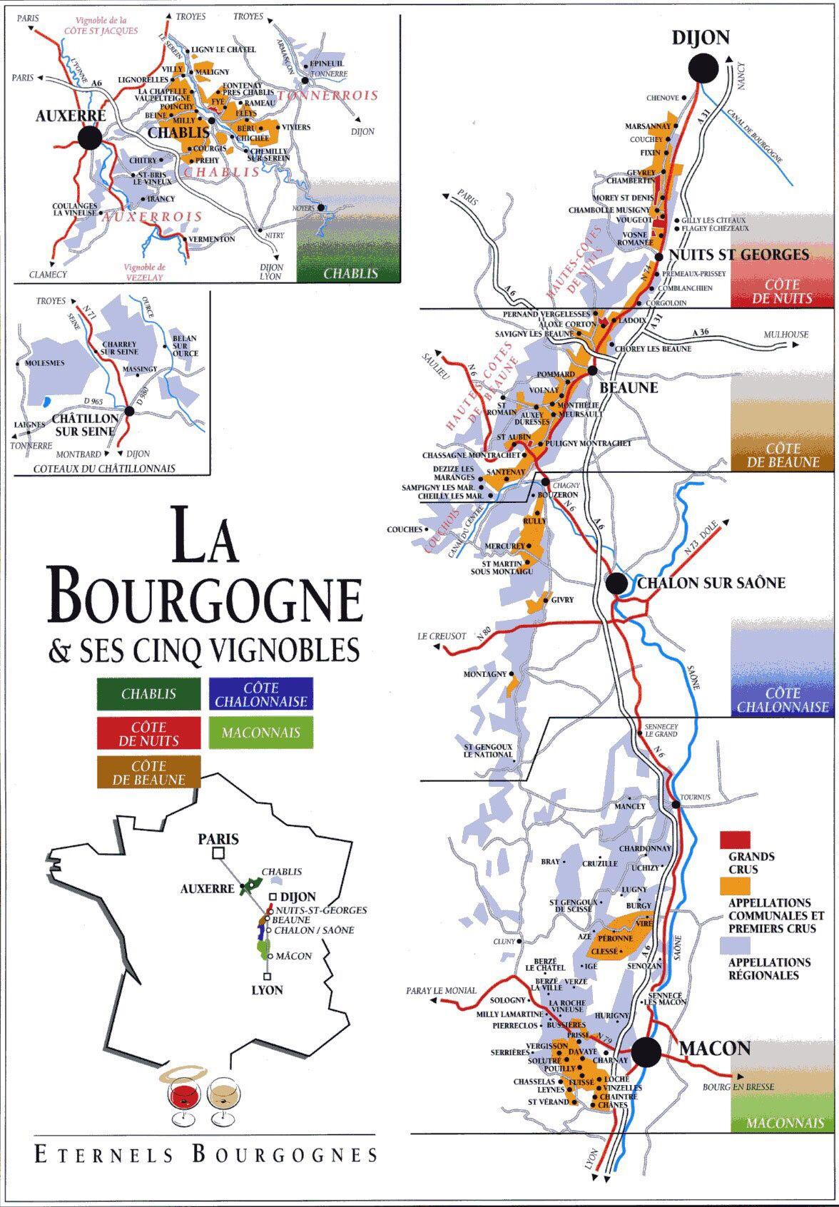 Vignoble Bourguignon Lamaisonduvin Fr Burgundy Wine Map Wine