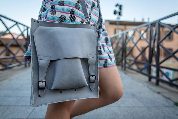 bag handmade blue and gray woman bagbag fashionbag by studioxo2u