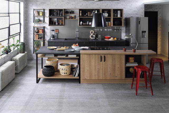 Une cuisine ouverte style industriel, Cuisinella - Marie Claire ...