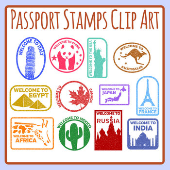 Passport Stamps In Color Or Black And White Clip Art Set Commercial Use Passport Stamps Clip Art Art Set