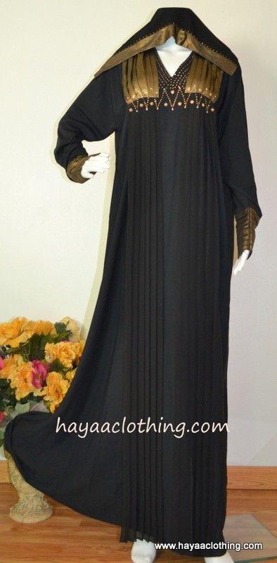 Hayaa Clothing - NAJMA Dubai GOLD Black Abaya,  (http://www.hayaaclothing.com/malika-dubai-gold-black-abaya/)