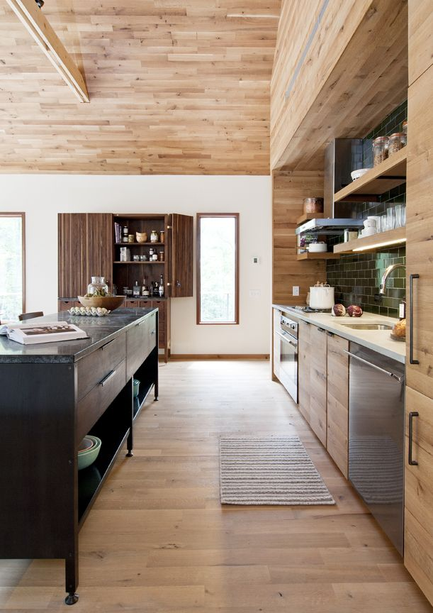 Kitchens With Wood Paneling: White Oak Shiplap Wall Paneling, Ceiling And Wood Flooring