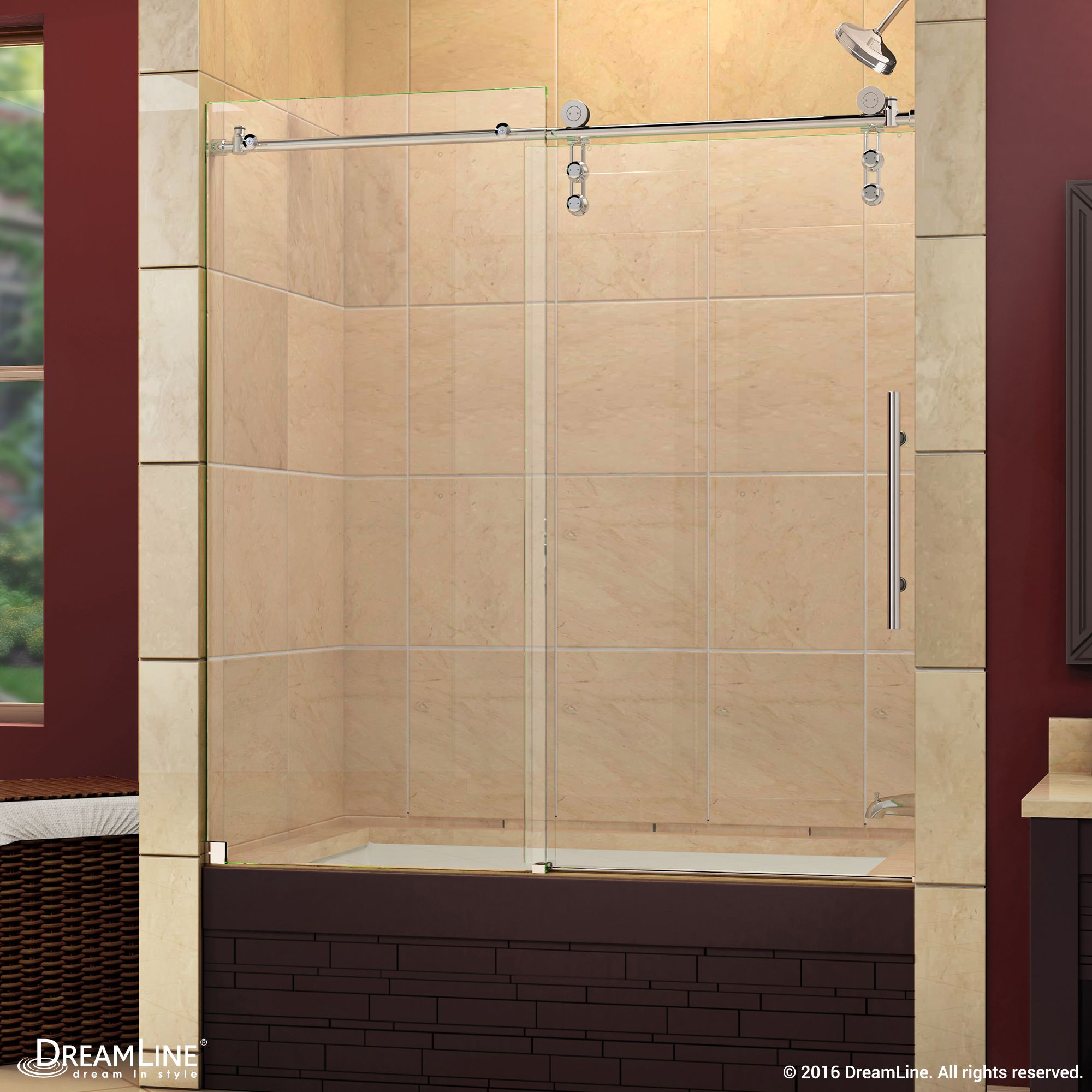 The dreamline enigmaz is a fully frameless sliding shower door tub
