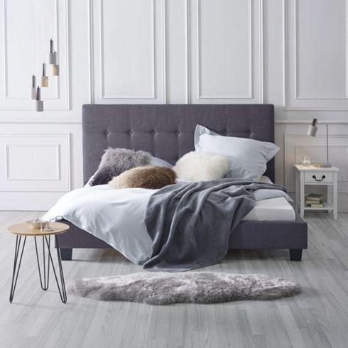 Elegantes Polsterbett in Leinenoptik in Dunkelgrau - ein Platz zum Wohlfühlen