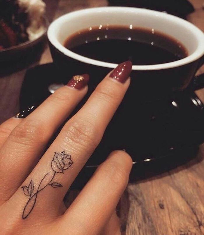 ▷ 1001 + ideas and models for beautiful small tattoos -  Small rose tattoo, middle finger tattoo,