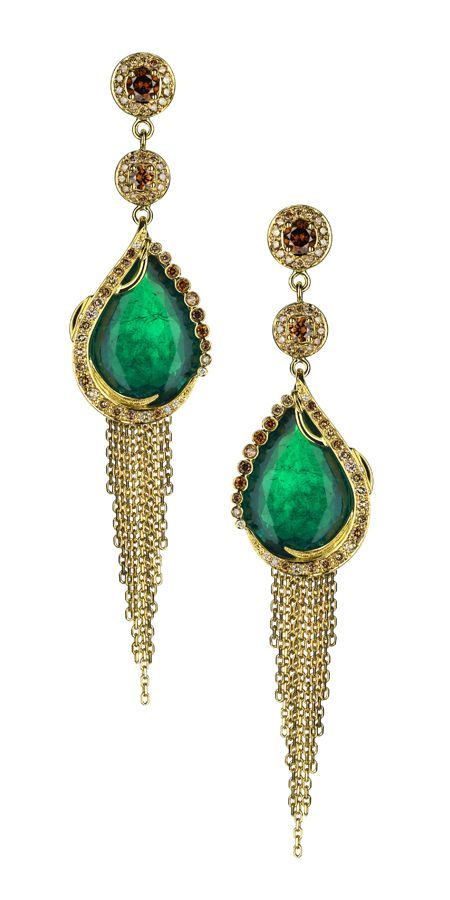 Ana de Costa. Gandhi earrings in 18ct yellow gold, pave set with natural cognac diamonds. Ethically mined Gemfields Zambian emeralds.