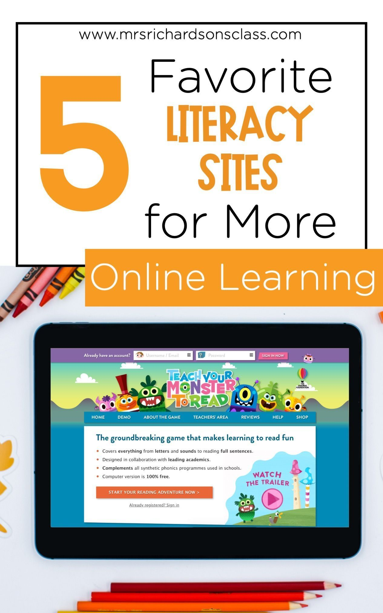 5 Top Literacy Sites For Easy Online Learning Mrs Richardson S Class Online Reading Programs Online Learning Literacy First grade reading programs online