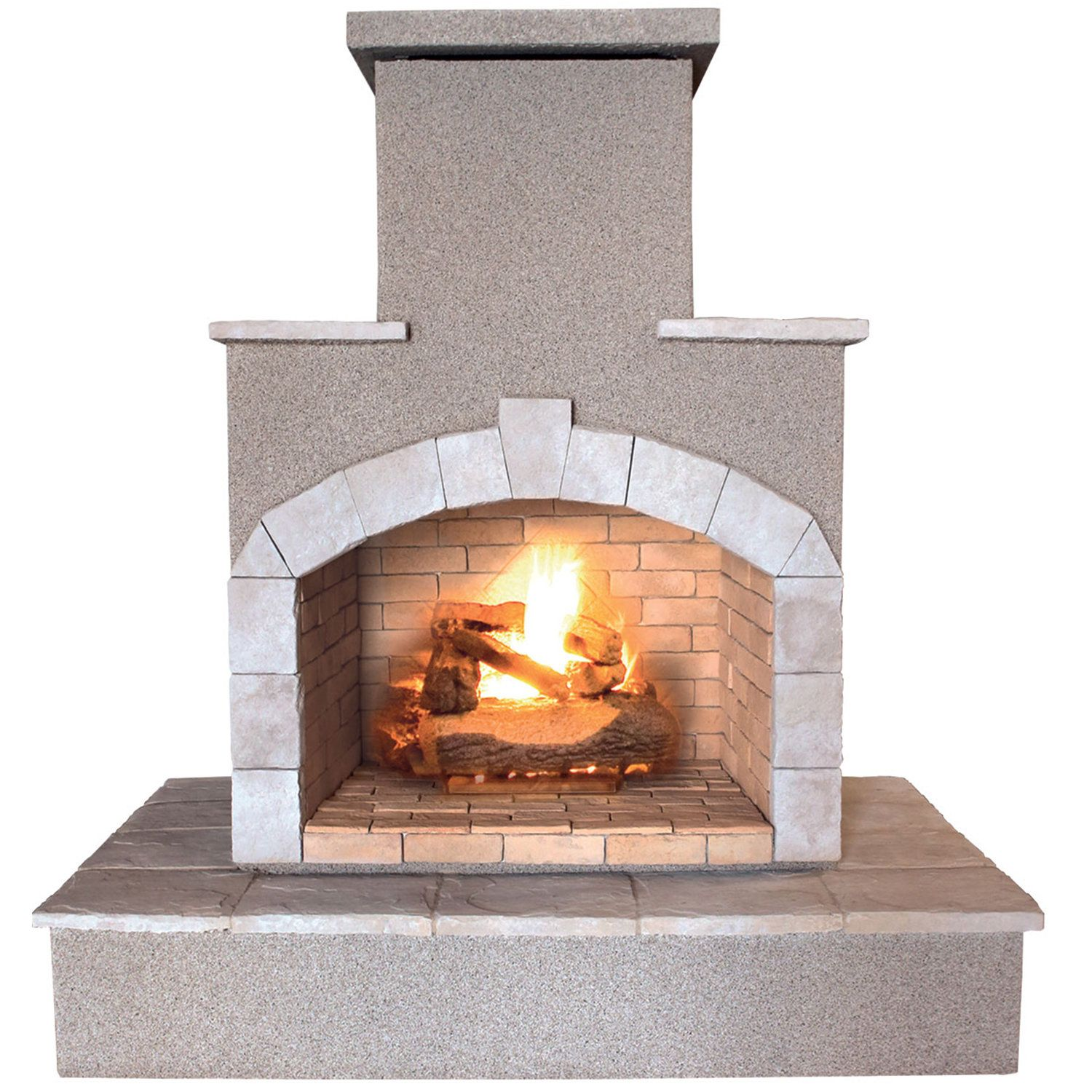 78 Inch Propane Gas Outdoor Fireplace Brown Cal Flame Stone