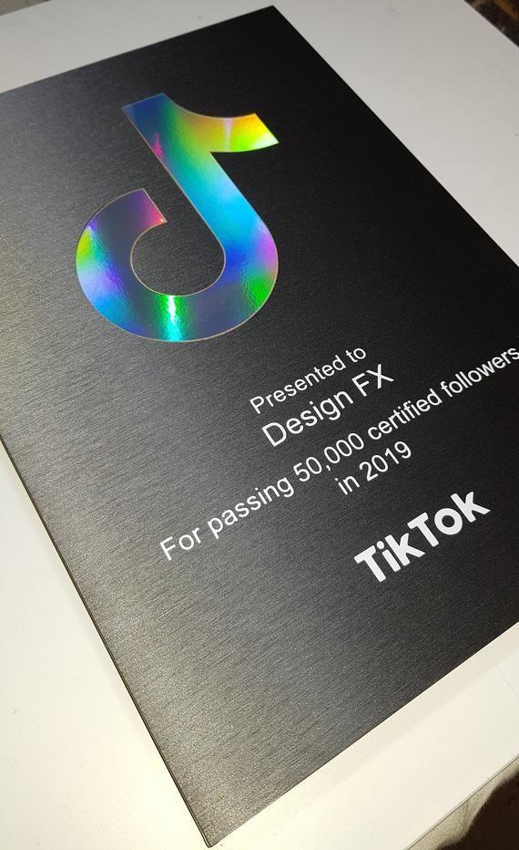 Custom Designed Personalized Tiktok Follower Milestone Award Plaque New Holographic Version 2020 In 2021 Award Plaque Personalized Custom Plaque