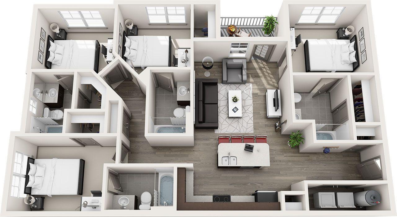 The Lodge Student Housing Allendale Michigan Floor Plans Sims House Plans House Plans Home Building Design