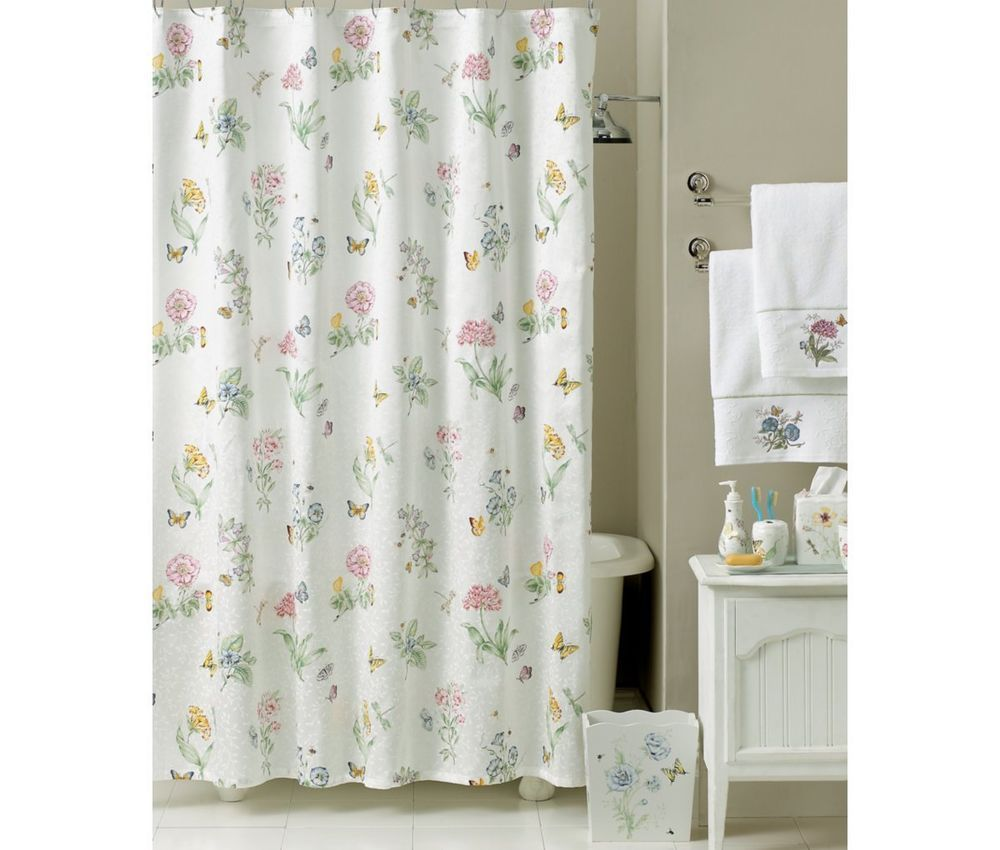 Nwot lenox butterfly meadow shower curtain floral butterfly