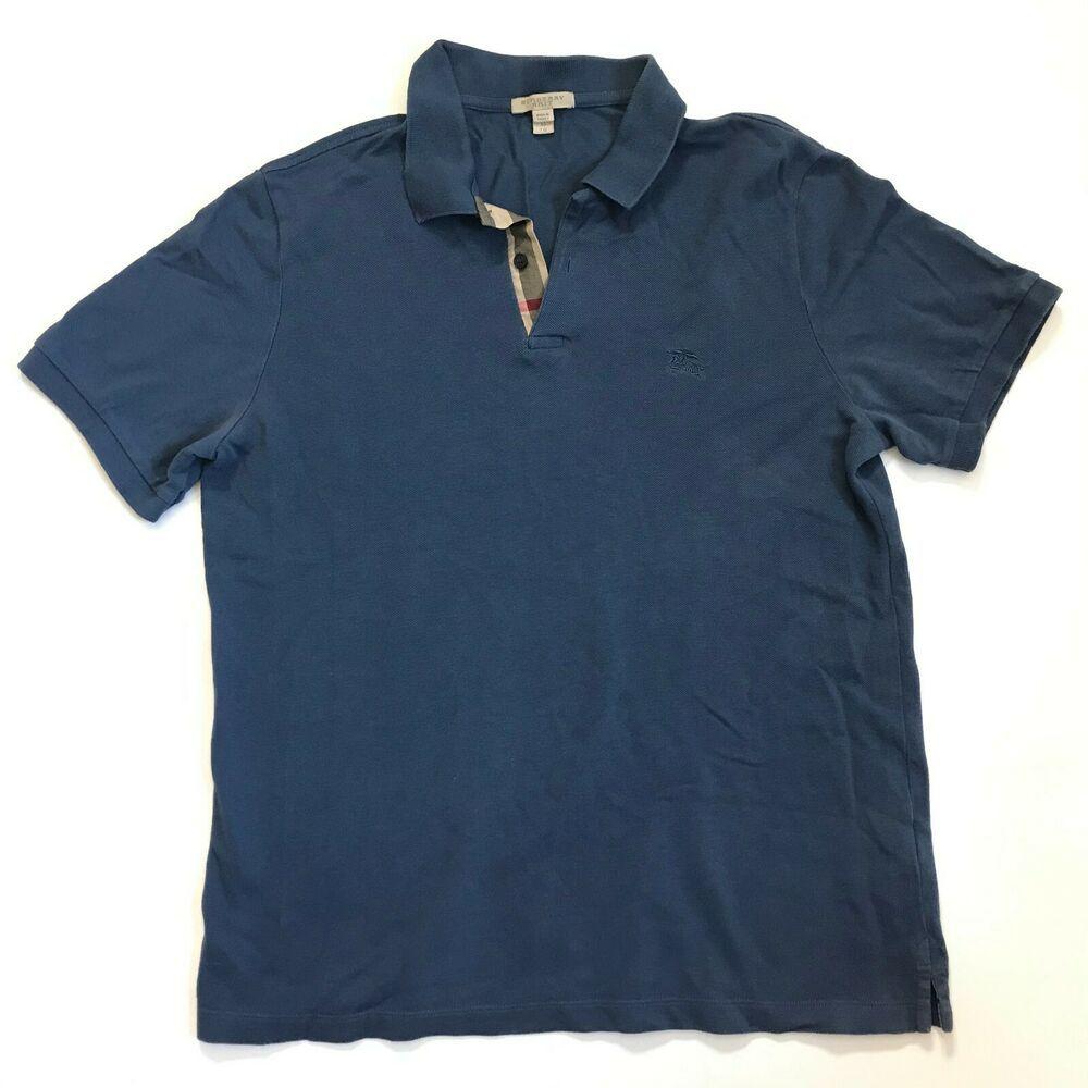 Burberry Brit Mens Xl Collared Short Sleeve Casual Polo Shirt Blue Cotton Burberry Polo Burberry Brit Men Burberry Brit Mens Xl