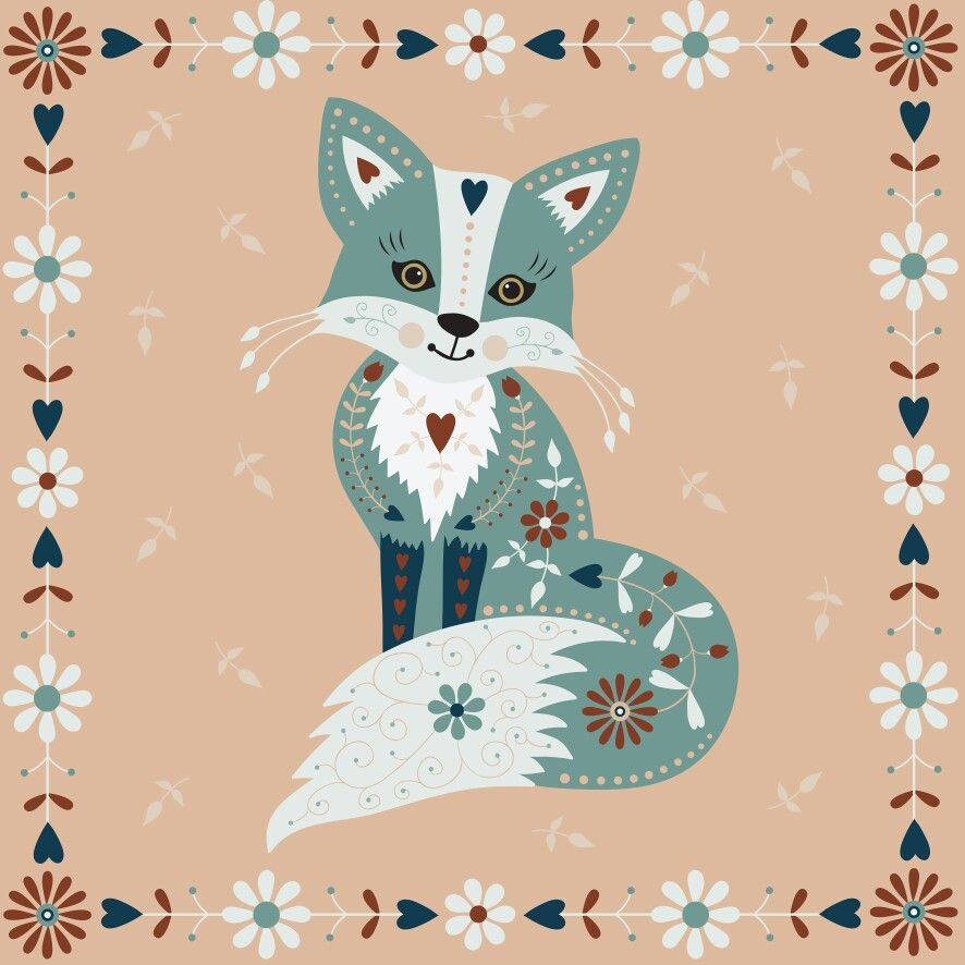 Folky fox by suzy taylor fox pinterest renard - Dessin renard ...