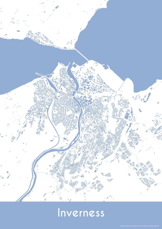 Inverness Map - Buildings - Inverness Print - City Map Art