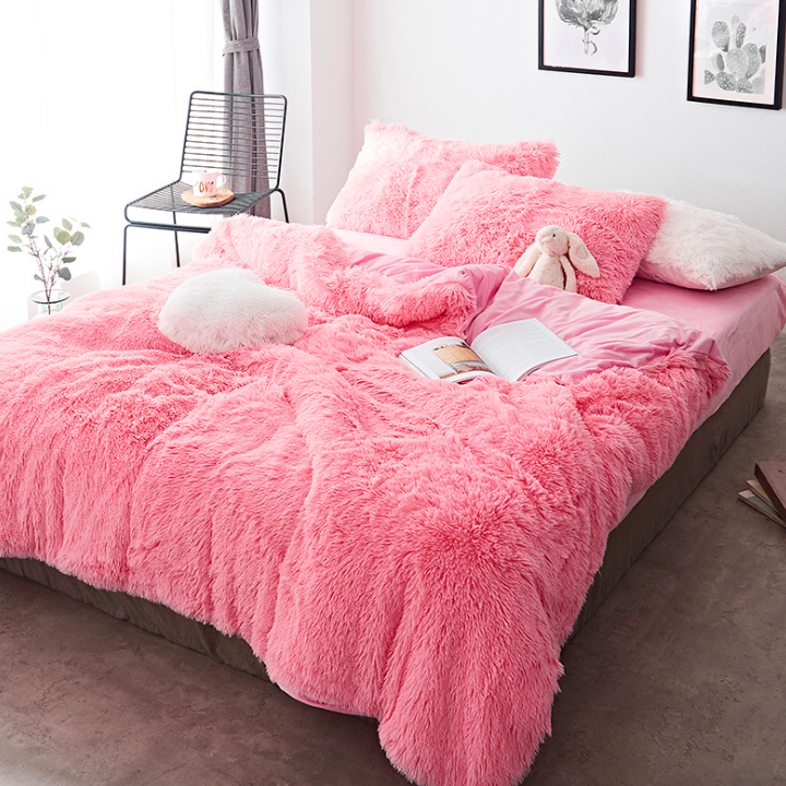 Colorful 4 Piece Faux Fur Bedding Set Luxury Bedroom Decor Bedding Sets Bed Linens Luxury