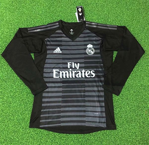 848c000ce25 2018-19 Real Madrid Goalkeeper Black LS Thailand Soccer Jersey AAA,Real  Madrid
