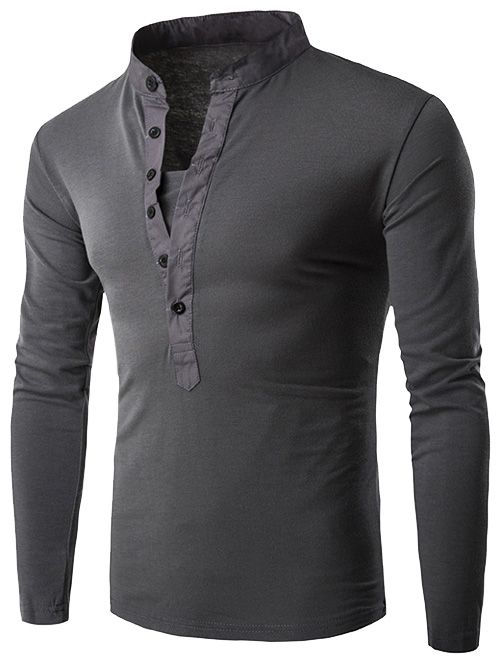 YYear Mens Long Sleeve Basic Casual Stand Collar Slim Fit T-Shirt Tee