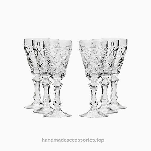 6-pc Vintage Set 6-Oz Russian Crystal Champagne Flutes Neman Glassworks