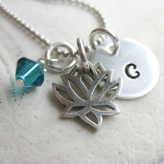 Lotus Charm Necklace  Personalized Monogram by WanderingTulip, $28.00