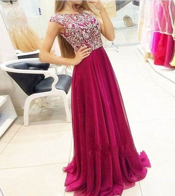 Modest Prom Dresses Long Wine Red Chiffon Junior Prom Dress 2016