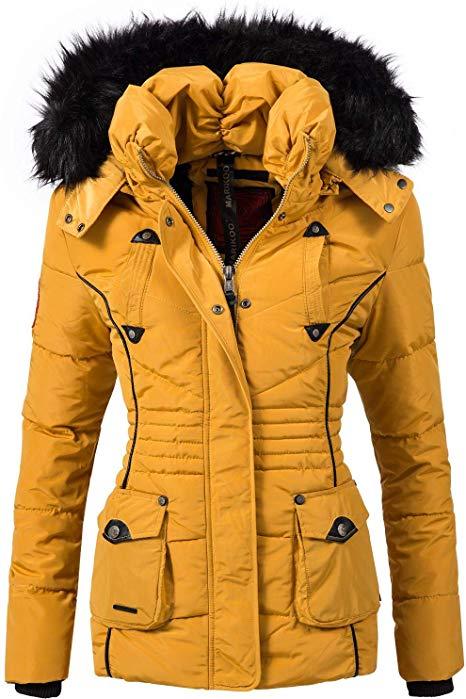 Marikoo Damen Winter Jacke Steppjacke Vanilla Gelb Gr. M