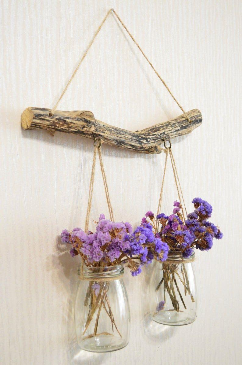 Mason jar wall decor, driftwood wall art, hanging vase, bedroom decor above bed, garden decor, driftwood piece, hristmas gift