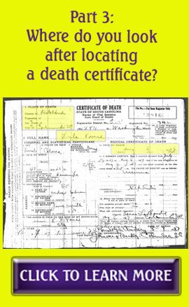 Part 3: Where do you look after locating a death certificate? #genealogy http://thefamilytreex.blogspot.com