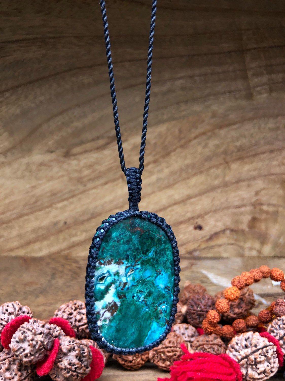 Healing Crystal Necklace Macrame Choker Boho Macrame Necklace Macrame Necklace Azurite Malachite Crystal Macrame Necklace