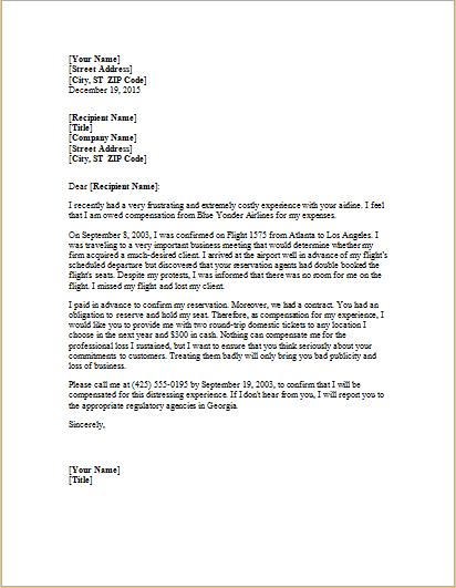 Complaint Letter About Overbooked Flight Word Amp Excel Templates