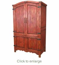 Painted Mexican Rustic Computer Armoire U2013 Red