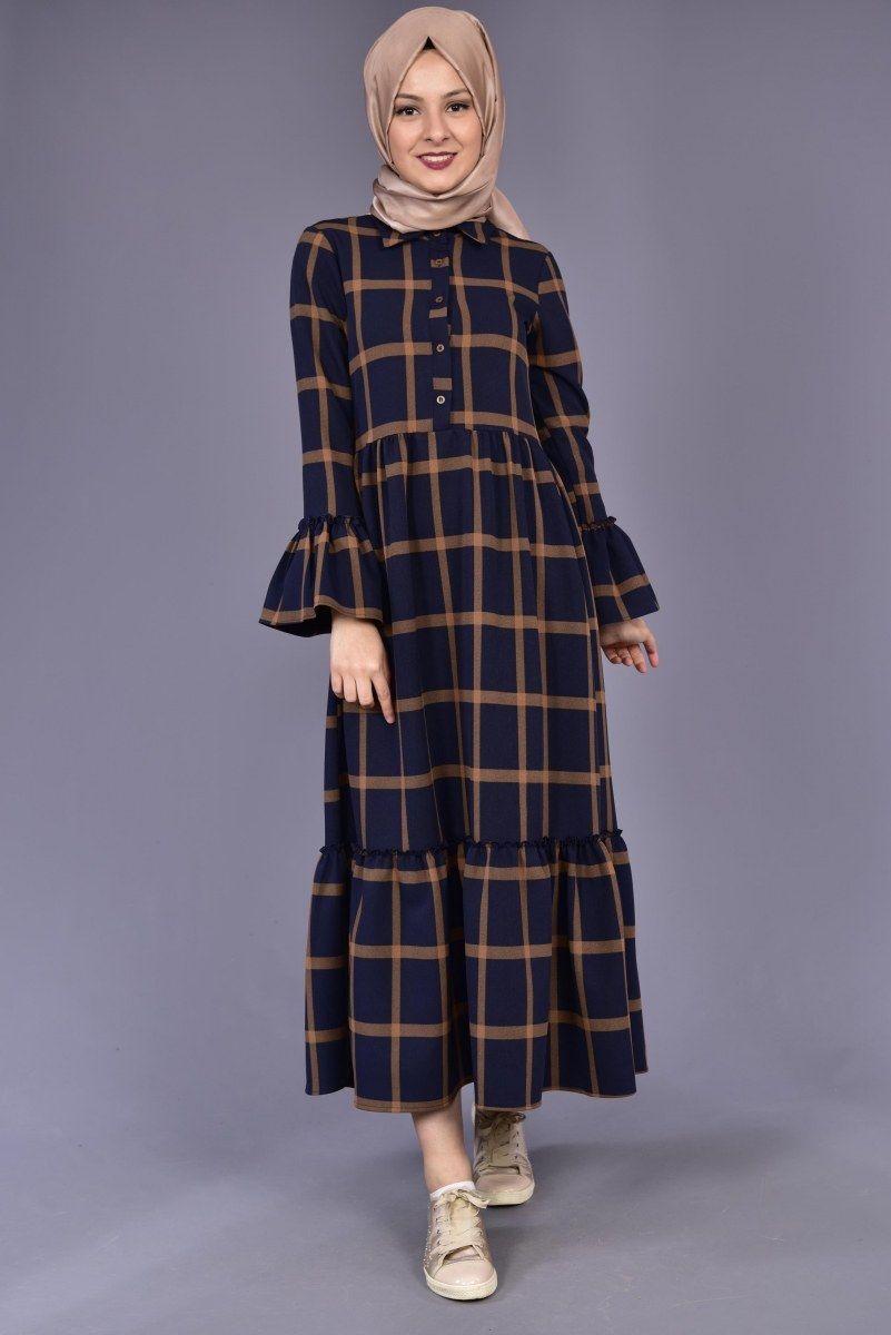 Kol Firfirli Buyuk Kareli Ekose Elbise Lacivert Vizon Bag 12244 Elbise Islami Giyim Basortusu Modasi
