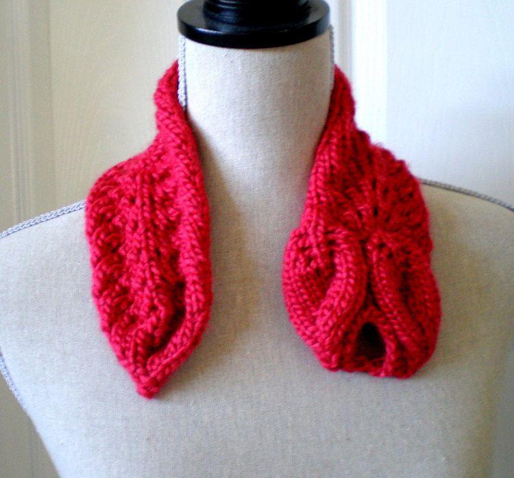 Women Knit Ascot Scarf PDF Pattern - Leaves Ascot Scarf | Pdf and ...