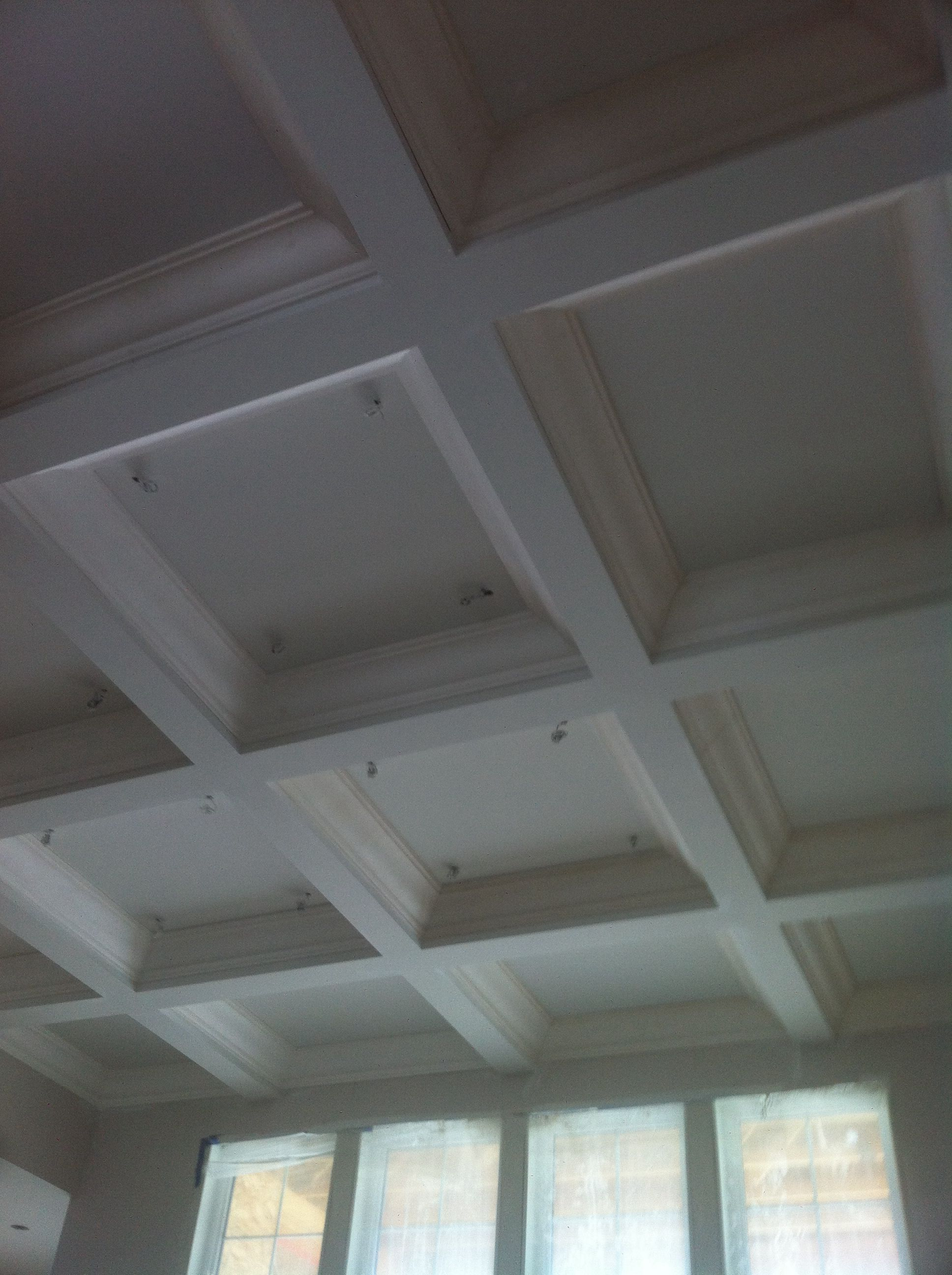 Custom Designed Plaster Crown Mouldings For Coffered Ceiling & Entrance