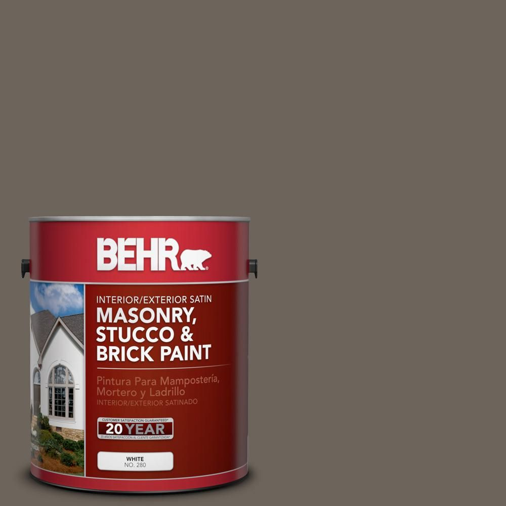 Behr 1 Gal N360 6 Patio Stone Satin Interior Exterior Masonry Stucco And Brick Paint Masonry Paint Brick Interior Stucco Paint