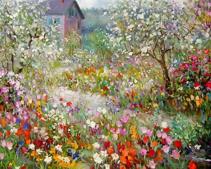 Beautiful Summer Flowers Painting Cottage Garden