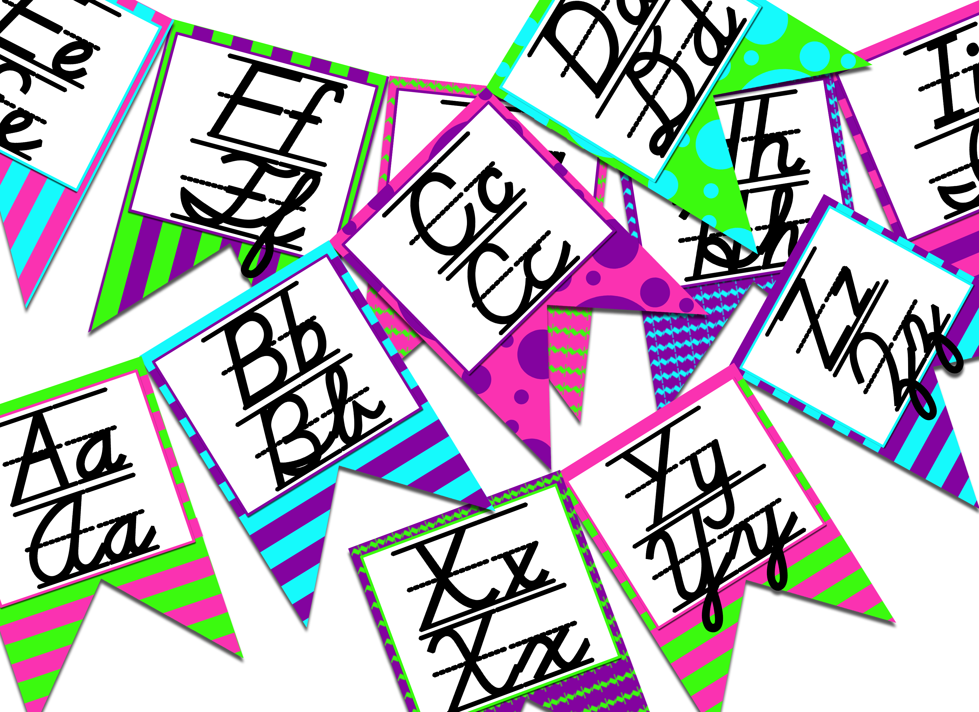 Neon Themed D Nealian Print And Cursive Alphabet Banner