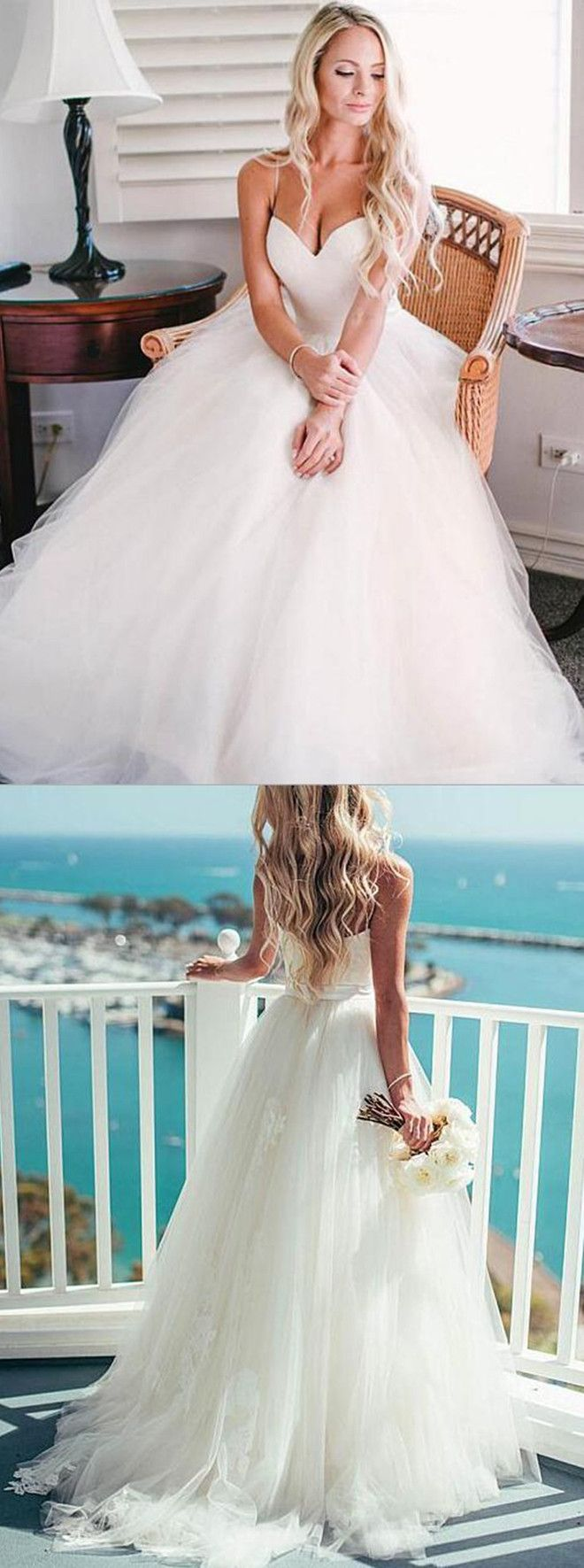 A-line Spaghetti Straps Tulle Sweep Train Appliques Sashes Ivory ...
