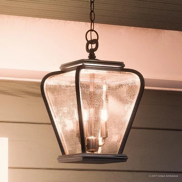 Luxury French Country Outdoor Pendant Light 15 5 H X 9 5 W With Mediterranean Style Soft And Simple Design Black Silk Finish In 2020 Outdoor Pendant Lighting Pendant Light Fixtures Outdoor Hanging Lights