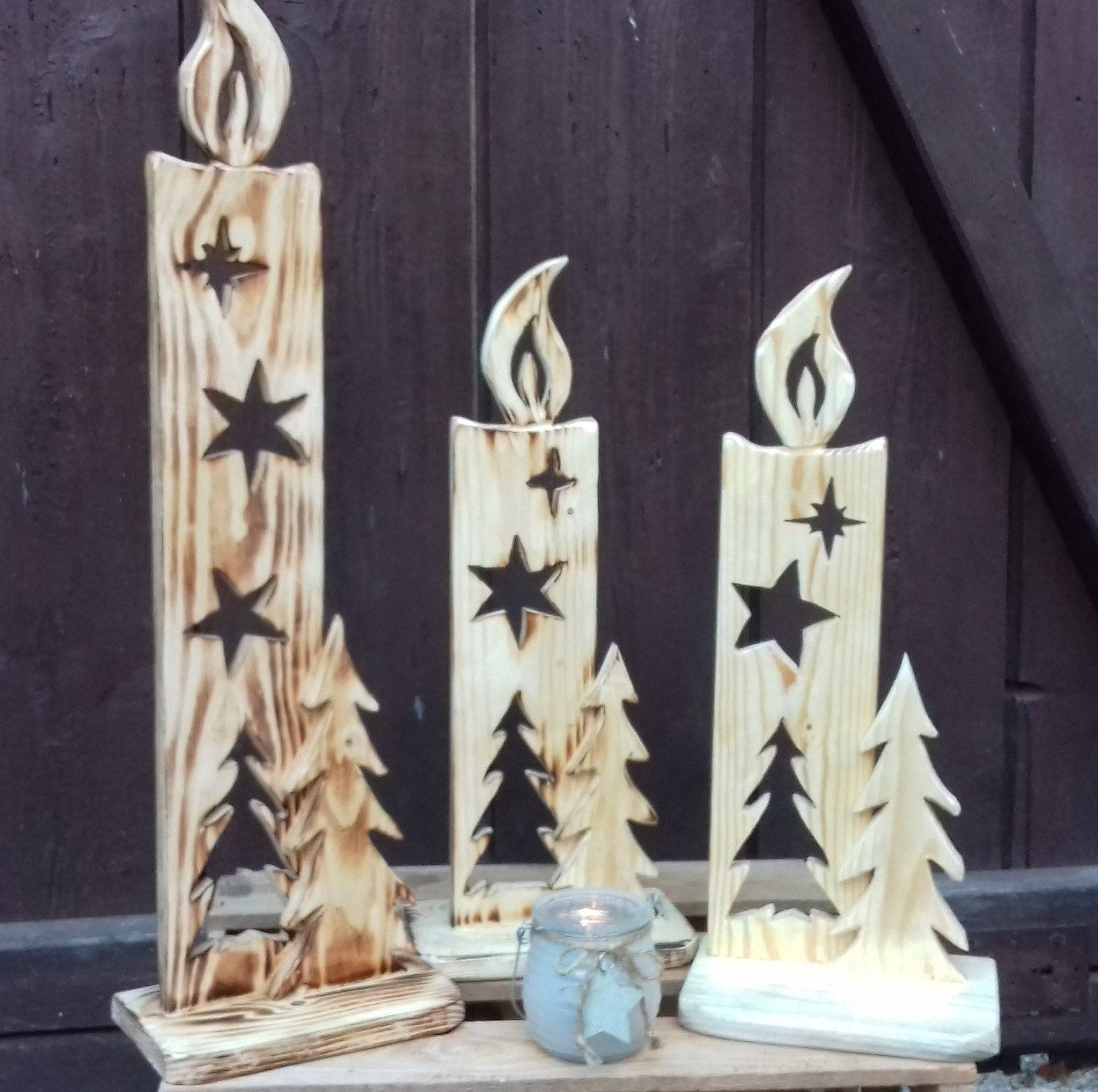 weihnachtsdeko kerzen aus holz teelichthalter natur geschenk weihnachtsdeko kerzen kerzen